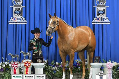Savannah Petrosky stands tall with her winning horse, An Heiress to Gold (Delta)
